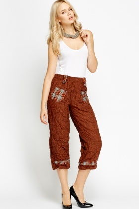 Crinkled Cropped Trousers