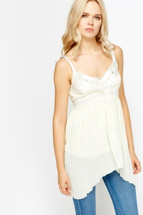 Laced Pleated Sheer Top