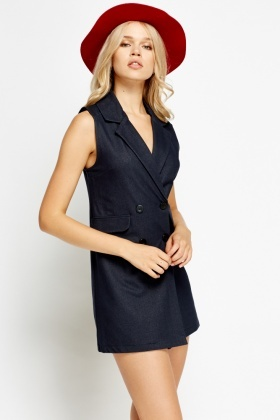 Navy Long Sleeveless Blazer