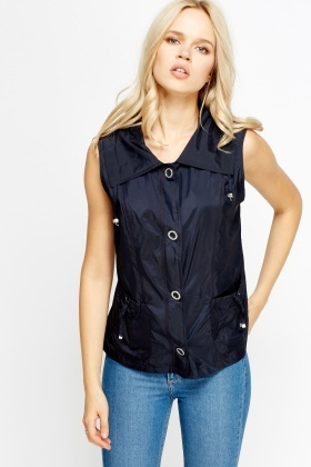 Navy Sleeveless Jacket