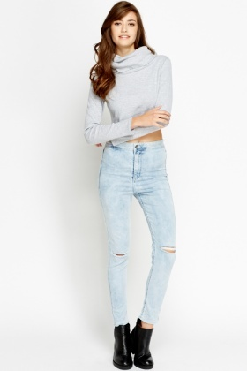 High Waisted Skinny Ripped Jeans - Just £5