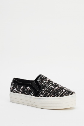 Speckled Metallic Checked Flatforms