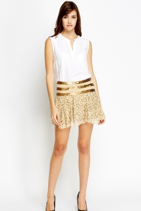 Embellished Mesh Mini Skirt