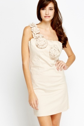 One Shoulder Flower Insert Mini Dress