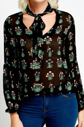 Printed Tie Up Sheer Blouse