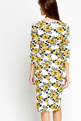 Textured Flower Print Midi Dress