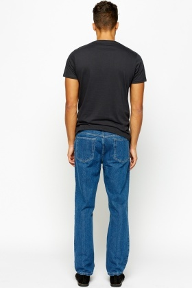 Denim Blue Straight Leg Jeans