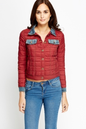 Denim Insert Quilted Jacket