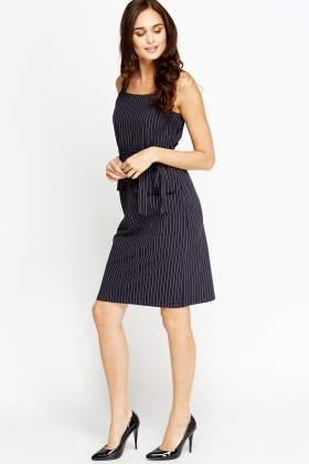 Strip Long Pinafore Dress