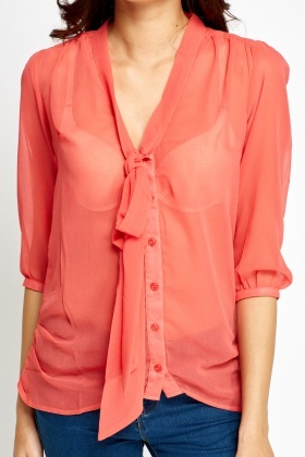 Tie Up Sheer Blouse