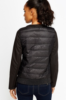 Black Quilted Contrast Jacket