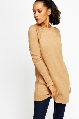 Camel Ribbed Knitted Long Jumper
