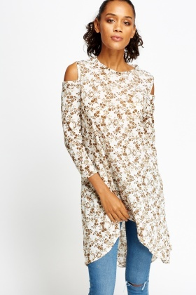 Cut Sleeve Sheer Dip Hem Top