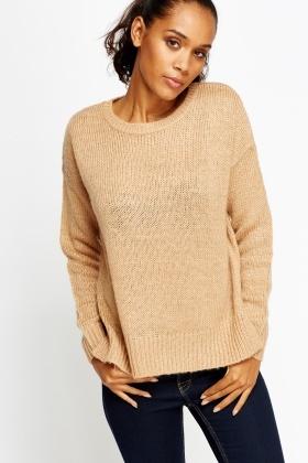 3b1aebb2813b6d Light Brown Knitted Jumper - Just £5