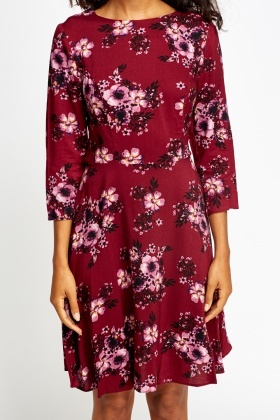 Wine Floral Swing Dress