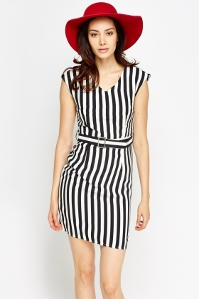 Belted Striped Midi Dress