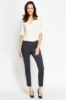 Skinny Fit Textured Trousers
