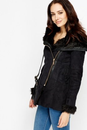 Suedette Faux Fur Trim Coat