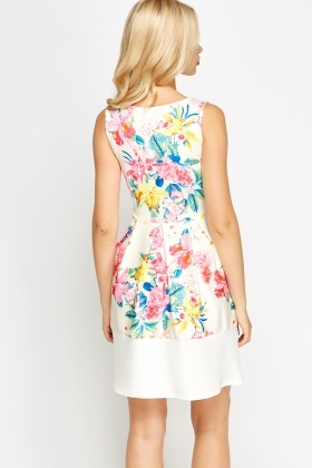 Contrast Hem Flower Print Skater Dress
