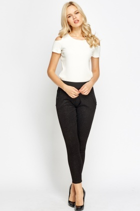 Embossed Black Leggings