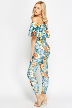 Flared Overlay Fitted Off Shoulder Jumpsuit