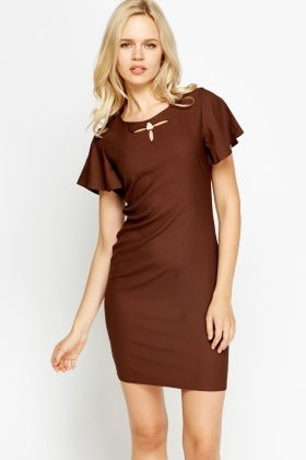 Flared Short Sleeve Formal Dress