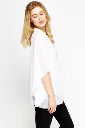 Flare Sleeve Sheer Top