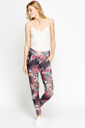 Flower Printed Casual Trousers