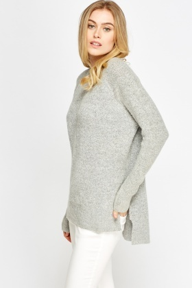 Grey Ribbed Knit Casual Jumper