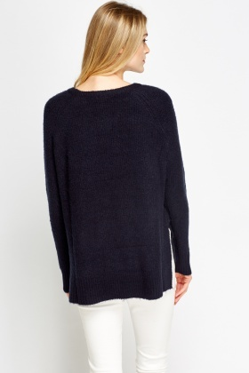 Ribbed Knit Casual Jumper