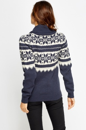 Christmas Print Knitted Cardigan