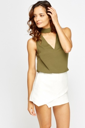 Cut Neck Olive Top
