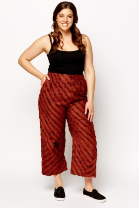 Ruffled Detailed Cropped Wide Trousers