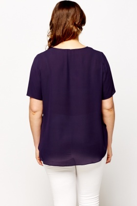 Dip Hem Purple Top