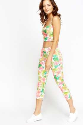 Floral Print Crop Top And Leggings 2 Piece Set