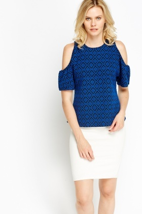 Royal Blue Cold Shoulder Top