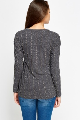 Beaded Dark Grey Long Sleeve Top