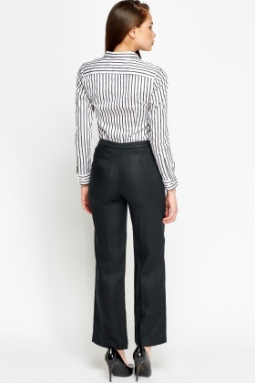 Charcoal Linen Formal Trousers