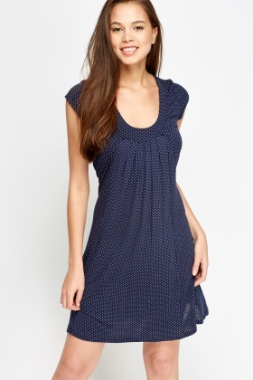 Dotted Low Neck Shift Dress