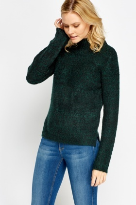 High Neck Speckled Knit Jumper