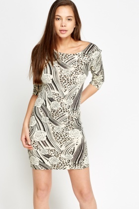 Knitted Mixed Print Dress