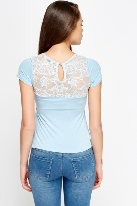 Light Blue Mesh Overlay Top