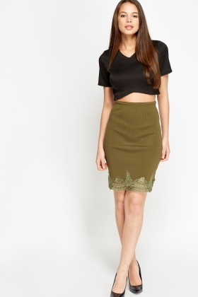 Metallic Mesh Hem Skirt