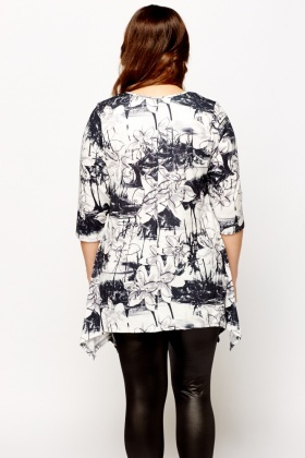 Printed Asymmetric Tunic Top