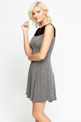 Lace Insert Dotted Skater Dress