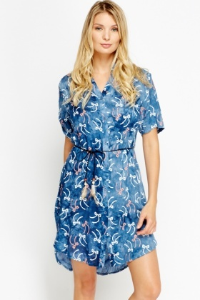 Bow Print Tie Up Shift Dress
