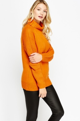 Knitted Long Roll Neck Jumper