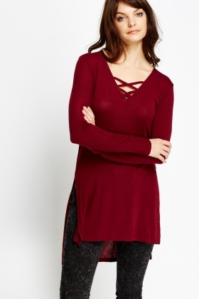 Cut Out Front Burgundy Top