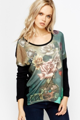 Encrusted Floral Front Top