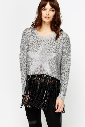 Fluffy Front Star Fringed Jumper